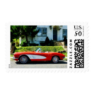 Red and White Corvette Convertible Postage