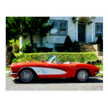 Red and White Corvette Convertible Postcard