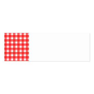 Red and White Country Striped Plaid Mini Business Card