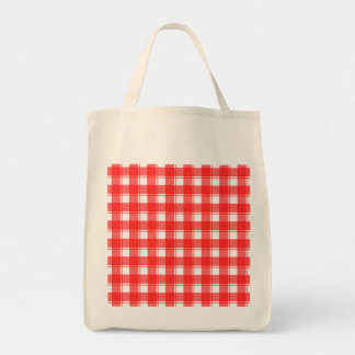Red and White Country Striped Plaid Tote Bag