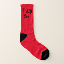 Red and White Crazy Sox Socks