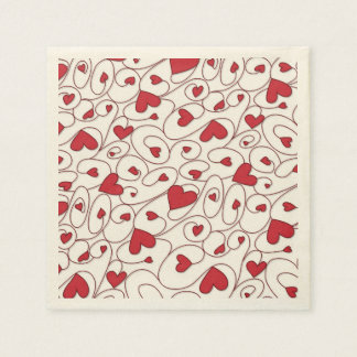 Red and white curly hearts paper napkin
