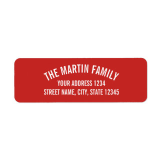 Red and White Curved Bold Text Label
