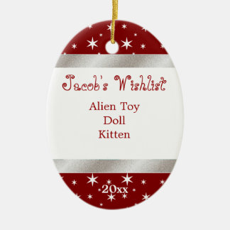 Red and White Custom Wishlist Ornament