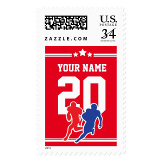 Red and white customizable football team colors… postage