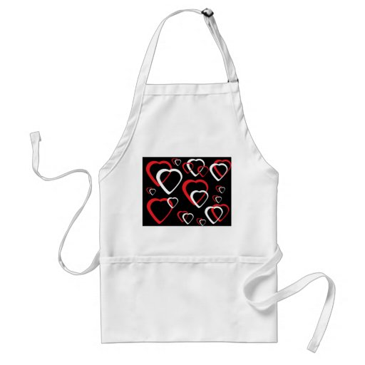 Red and White Cutout Hearts Apron