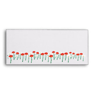 Red and White Daisies Envelope