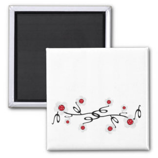 Red and White Daisies Refrigerator Magnets