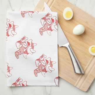 Red and White Dala Horses  Kitchen towel Hand Towels