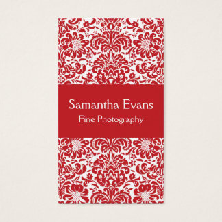 Red and White Damask Business Card