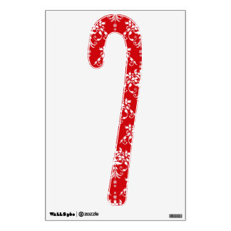 Red and White Damask Christmas Candy Cane Wall Sticker