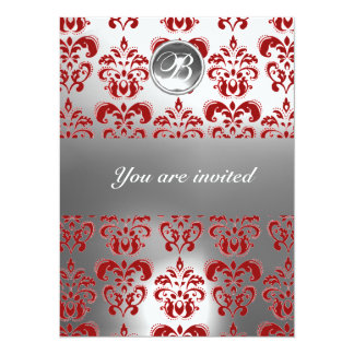 RED AND WHITE DAMASK GEM STONE MONOGRAM CARD