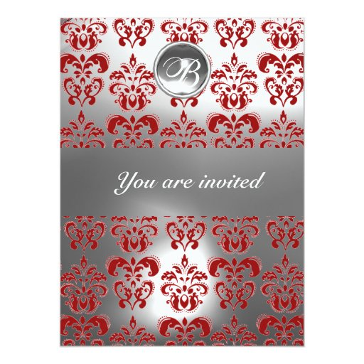 "RED AND WHITE DAMASK GEM STONE MONOGRAM 6.5"" X 8.75"" INVITATION CARD"