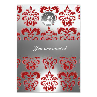 RED  AND WHITE DAMASK GEM STONE MONOGRAM 4.5X6.25 PAPER INVITATION CARD