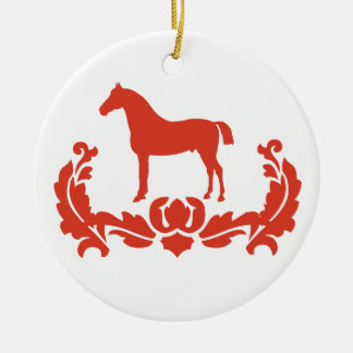 Red and White Damask Horse Ceramic Ornament