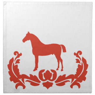 Red and White Damask Horse Napkin