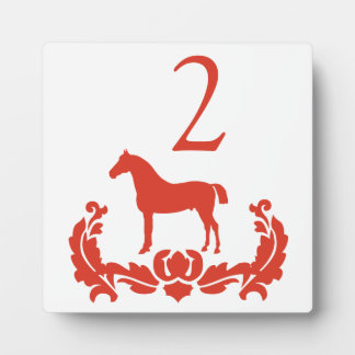 Red and White Damask Horse Table Number Plaque