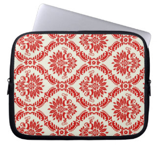 Red and White Damask Laptop Sleeve