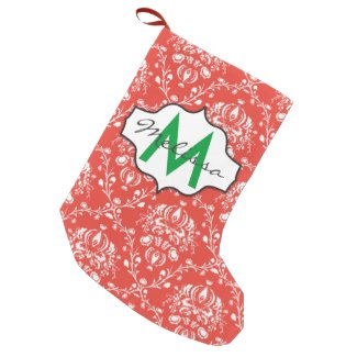 Red and White Damask Monogram Small Christmas Stocking