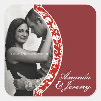 Red and White Damask Photo Wedding Sticker