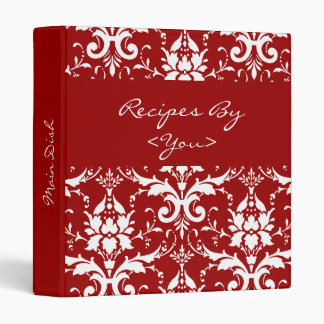 Red and White Damask Recipe Cook Book Binder