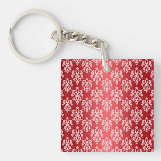 Red and White Damask Vintage Pattern Keychain