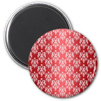 Red and White Damask Vintage Pattern Magnet