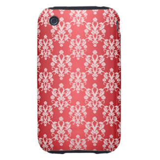 Red and White Damask Vintage Pattern Tough iPhone 3 Case