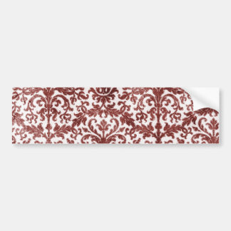 Red and White Damask Wallpaper Pattern Car Bumper Sticker