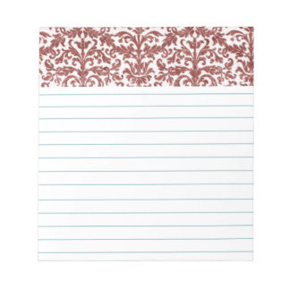 Red and White Damask Wallpaper Pattern Memo Pads