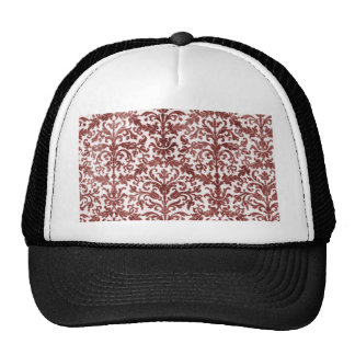 Red and White Damask Wallpaper Pattern Trucker Hat