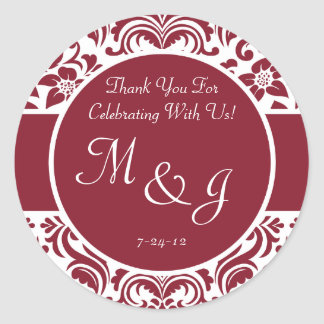 Red and White Damask Wedding Favor Labels Classic Round Sticker