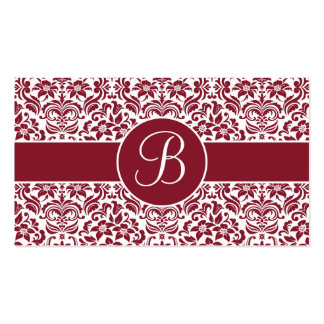 Red and White Damask Wedding Gift Registry Cards Business Card Template