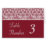Red and White Damask Wedding Table Number Cards Greeting Cards