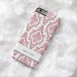 Red and White Damask with optional name area Barely There iPhone 6 Case