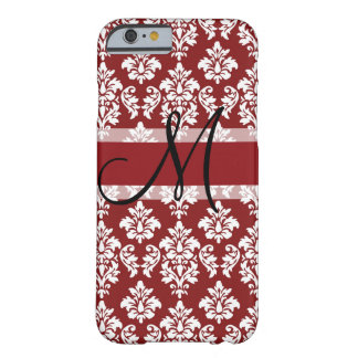 Red and White Damask Your Monogram Barely There iPhone 6 Case