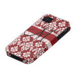 Red and White Damask Your Monogram iPhone 4/4S Covers