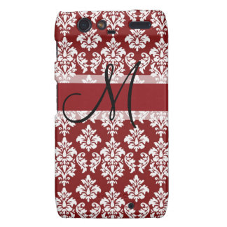 Red and White Damask Your Monogram Droid RAZR Cover