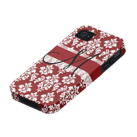 Red and White Damask Your Monogram Case-Mate iPhone 4 Cover