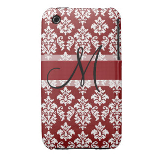 Red and White Damask Your Monogram iPhone 3 Cover