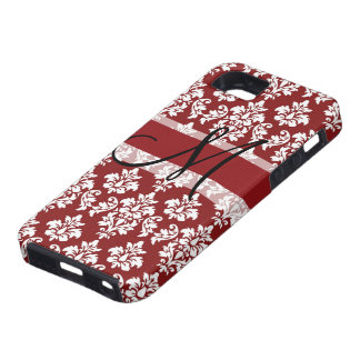 Red and White Damask Your Monogram iPhone 5 Case