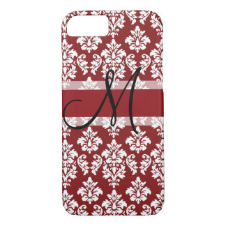 Red and White Damask Your Monogram iPhone 8/7 Case