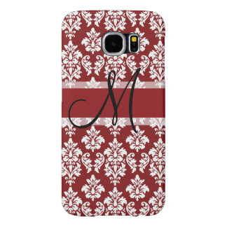 Red and White Damask Your Monogram Samsung Galaxy S6 Case