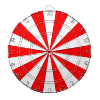 Red and White Dartboard With Darts