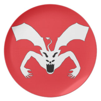 Red And White Devil Melamine Plate