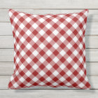 Red and White Diagonal Checked Plaid Outdoor Pillow
