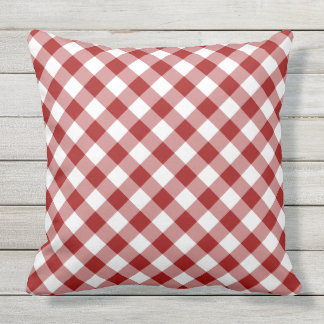 Lovely Red And White Diagonal Checked Plaid Outdoor Pillow