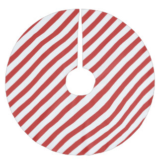 Red and White Diagonal Stripe Pattern Brushed Polyester Tree Skirt