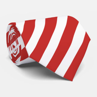 Red and White Diagonal Stripe Pattern Neck Tie