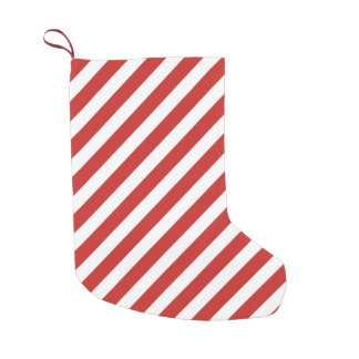 Red and White Diagonal Stripe Pattern Small Christmas Stocking